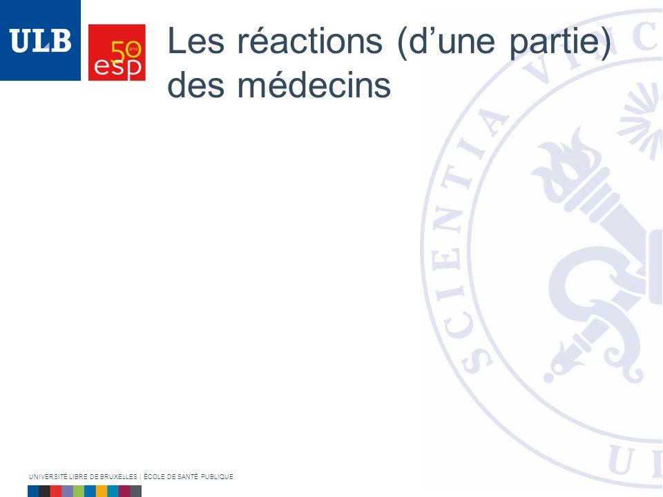 Les réactions (dune partie) des médecins UNIVERSITÉ LIBRE DE BRUXELLES | ÉCOLE DE SANTÉ PUBLIQUE