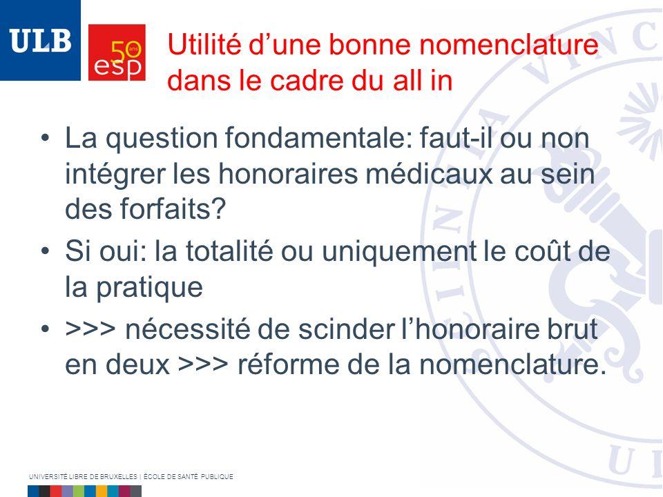 Utilité dune bonne nomenclature dans le cadre du all in La question fondamentale: faut-il ou non intégrer les honoraires médicaux au sein des forfaits.