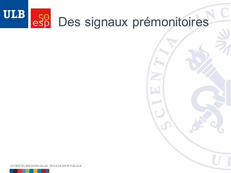 Des signaux prémonitoires UNIVERSITÉ LIBRE DE BRUXELLES | ÉCOLE DE SANTÉ PUBLIQUE