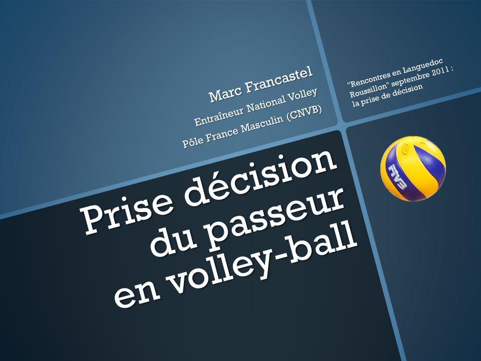 Prise décision du passeur en volley-ball Marc Francastel Entraîneur National Volley Pôle France Masculin (CNVB) Rencontres en Languedoc Roussillon septembre 2011 : la prise de décision
