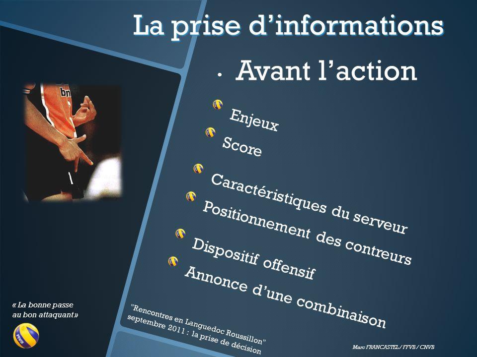 « La bonne passe au bon attaquant » Marc FRANCASTEL / FFVB / CNVB La prise dinformations Avant laction Languedoc