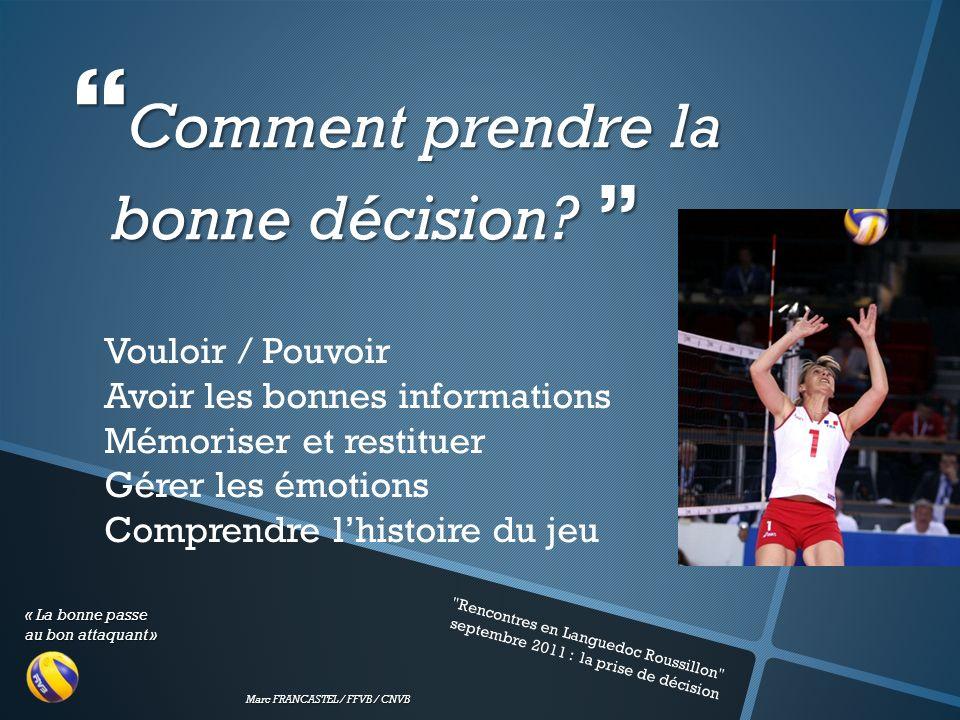 « La bonne passe au bon attaquant » Marc FRANCASTEL / FFVB / CNVB Rencontres en Languedoc Roussillon septembre 2011 : la prise de décision Comment prendre la bonne décision.