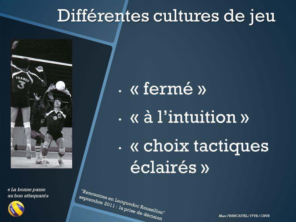 « La bonne passe au bon attaquant » Marc FRANCASTEL / FFVB / CNVB Différentes cultures de jeu « fermé » « à lintuition » « choix tactiques éclairés » Languedoc Rencontres en Languedoc Roussillon septembre 2011 : la prise de décision