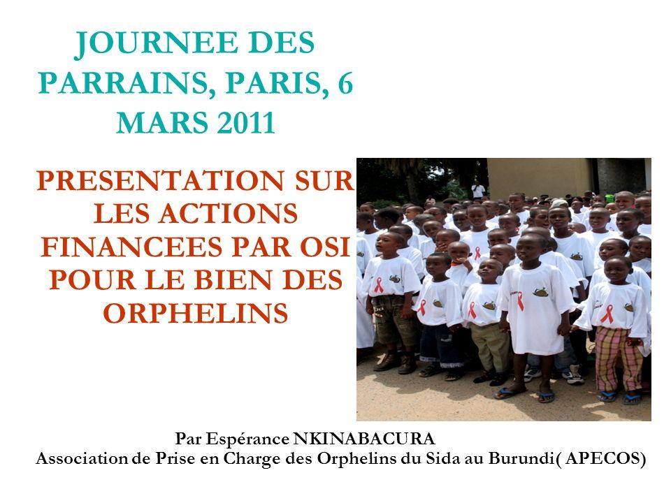 JOURNEE DES PARRAINS, PARIS, 6 MARS 2011 PRESENTATION SUR LES ACTIONS FINANCEES PAR OSI POUR LE BIEN DES ORPHELINS Par Espérance NKINABACURA Association de Prise en Charge des Orphelins du Sida au Burundi( APECOS)