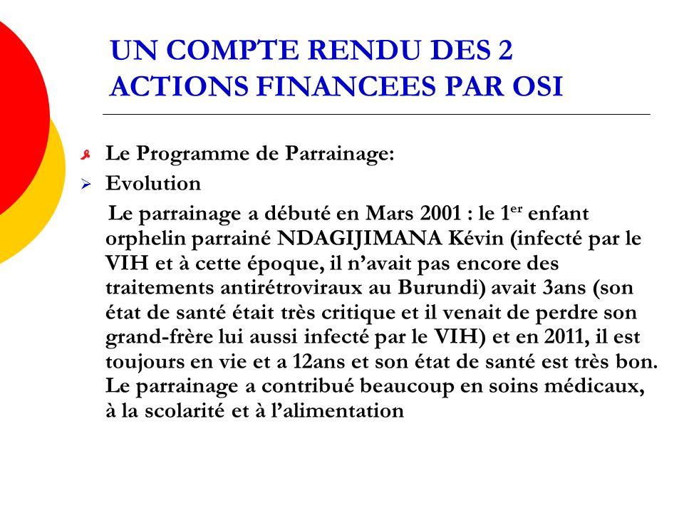 UN COMPTE RENDU DES 2 ACTIONS FINANCEES PAR OSI Le Programme de Parrainage: Evolution Le parrainage a débuté en Mars 2001 : le 1 er enfant orphelin parrainé NDAGIJIMANA Kévin (infecté par le VIH et à cette époque, il navait pas encore des traitements antirétroviraux au Burundi) avait 3ans (son état de santé était très critique et il venait de perdre son grand-frère lui aussi infecté par le VIH) et en 2011, il est toujours en vie et a 12ans et son état de santé est très bon.