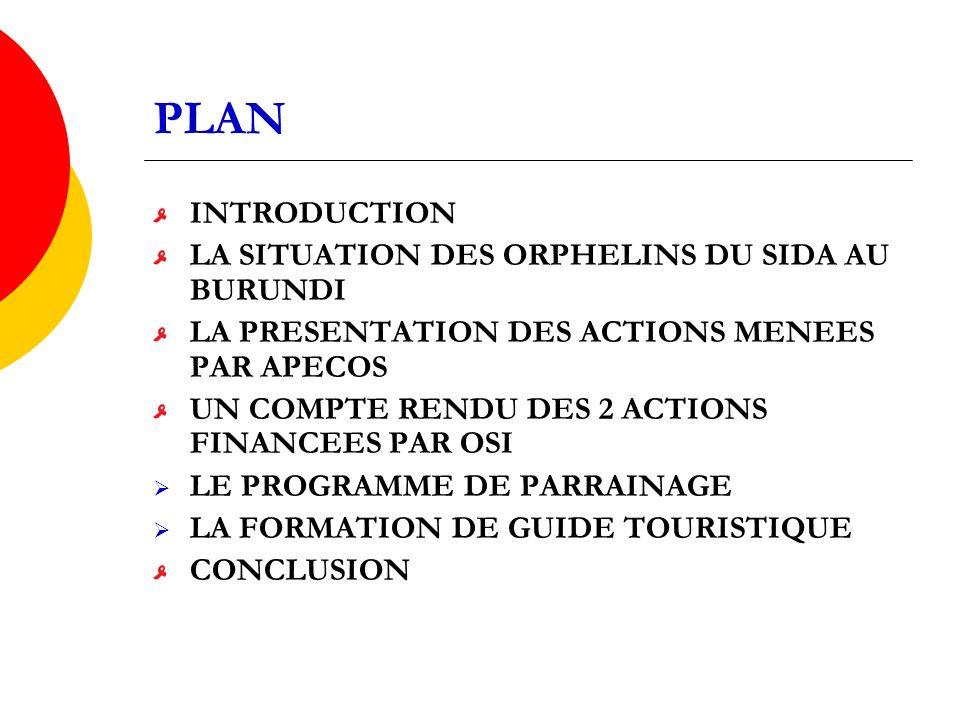 PLAN INTRODUCTION LA SITUATION DES ORPHELINS DU SIDA AU BURUNDI LA PRESENTATION DES ACTIONS MENEES PAR APECOS UN COMPTE RENDU DES 2 ACTIONS FINANCEES PAR OSI LE PROGRAMME DE PARRAINAGE LA FORMATION DE GUIDE TOURISTIQUE CONCLUSION