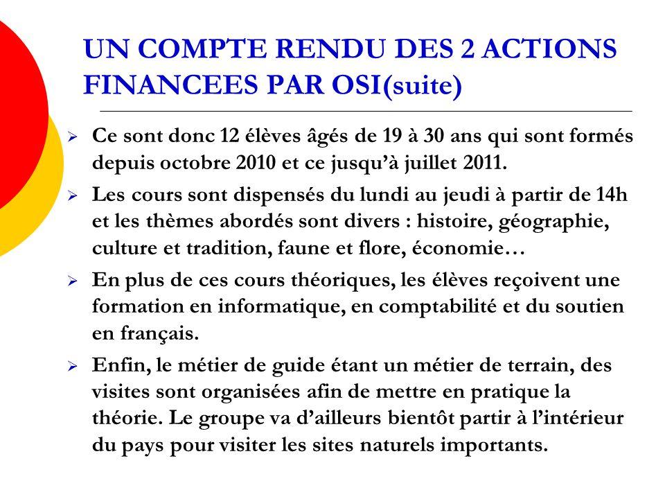 UN COMPTE RENDU DES 2 ACTIONS FINANCEES PAR OSI(suite) Ce sont donc 12 élèves âgés de 19 à 30 ans qui sont formés depuis octobre 2010 et ce jusquà juillet 2011.