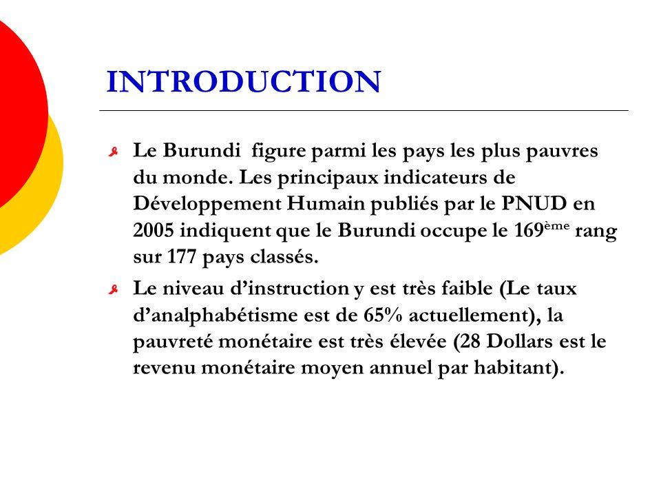 INTRODUCTION Le Burundi figure parmi les pays les plus pauvres du monde.
