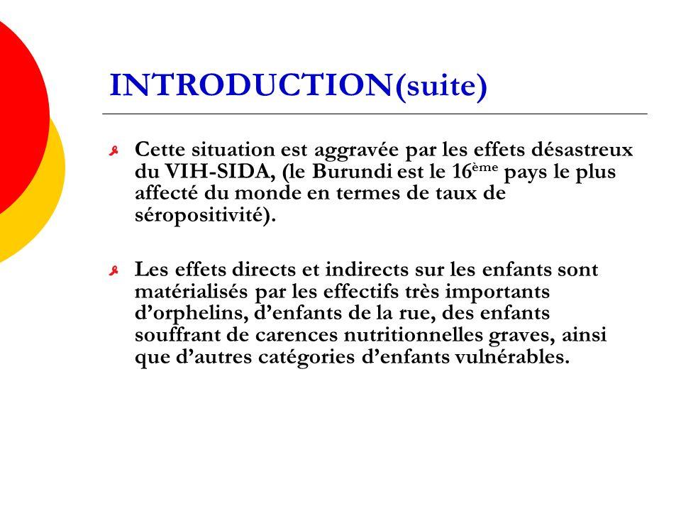INTRODUCTION(suite) Cette situation est aggravée par les effets désastreux du VIH-SIDA, (le Burundi est le 16 ème pays le plus affecté du monde en termes de taux de séropositivité).