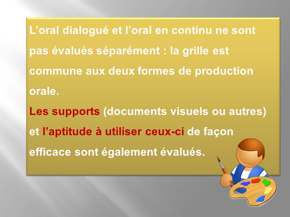 Loral dialogué et loral en continu ne sont pas évalués séparément : la grille est commune aux deux formes de production orale. Les supports (documents