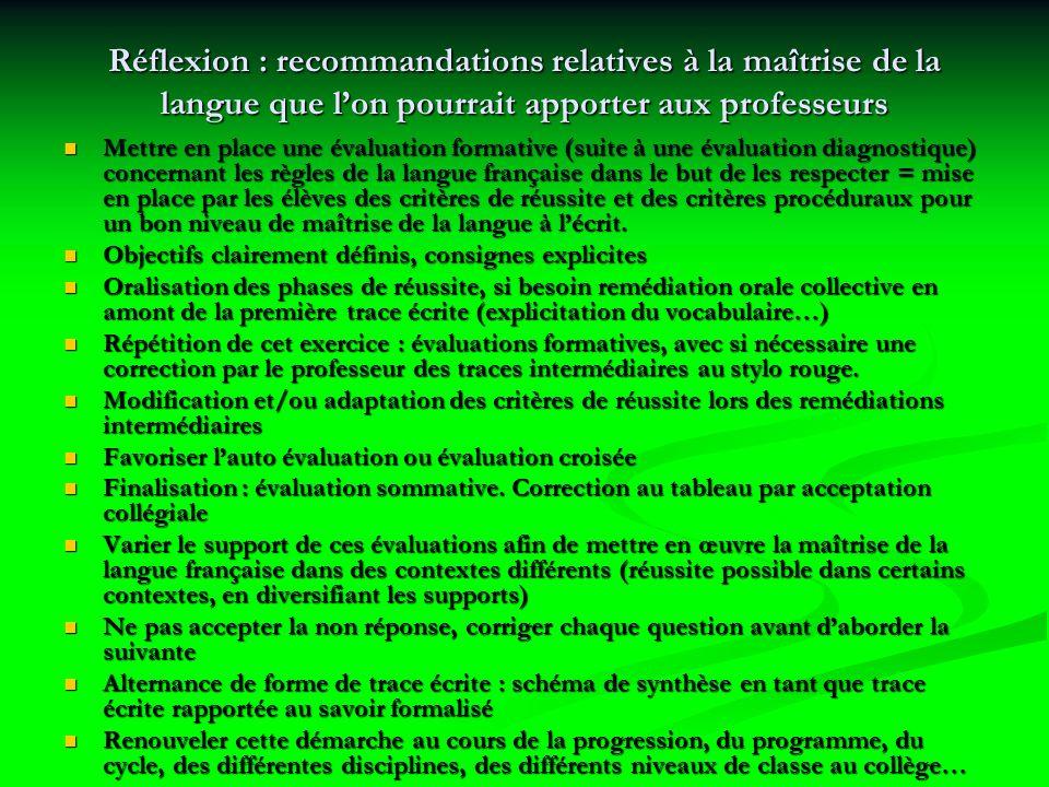 Réflexion : recommandations relatives à la maîtrise de la langue que lon pourrait apporter aux professeurs Mettre en place une évaluation formative (suite à une évaluation diagnostique) concernant les règles de la langue française dans le but de les respecter = mise en place par les élèves des critères de réussite et des critères procéduraux pour un bon niveau de maîtrise de la langue à lécrit.