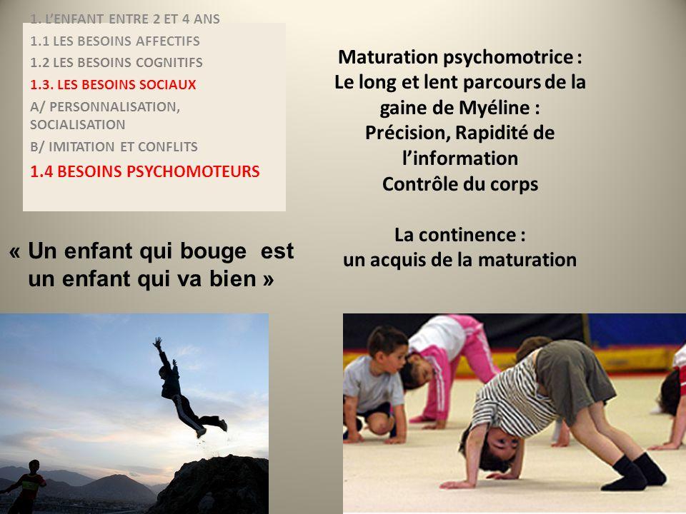 Maturation psychomotrice : Le long et lent parcours de la gaine de Myéline : Précision, Rapidité de linformation Contrôle du corps La continence : un
