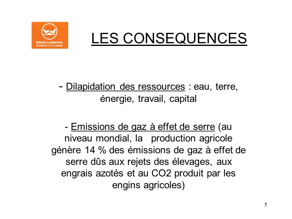 5 LES CONSEQUENCES - Dilapidation des ressources : eau, terre, énergie, travail, capital - Emissions de gaz à effet de serre (au niveau mondial, la production agricole génère 14 % des émissions de gaz à effet de serre dûs aux rejets des élevages, aux engrais azotés et au CO2 produit par les engins agricoles)