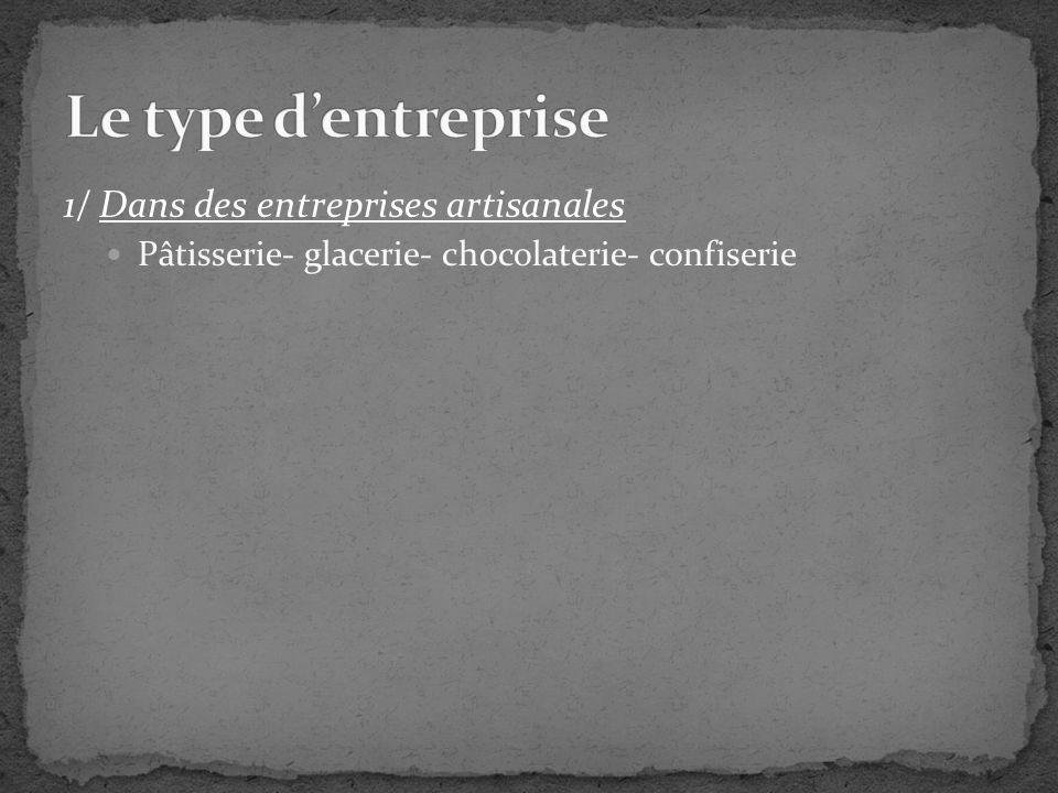1/ Dans des entreprises artisanales Pâtisserie- glacerie- chocolaterie- confiserie Boulangerie- pâtisserie