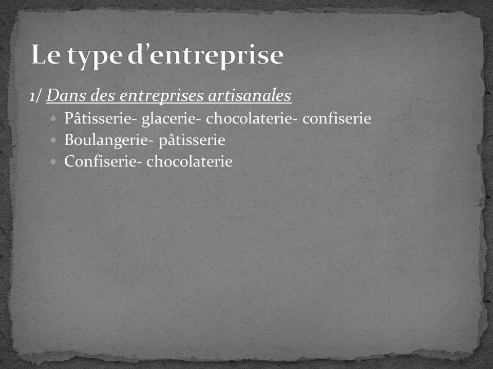 1/ Dans des entreprises artisanales Pâtisserie- glacerie- chocolaterie- confiserie Boulangerie- pâtisserie Confiserie- chocolaterie
