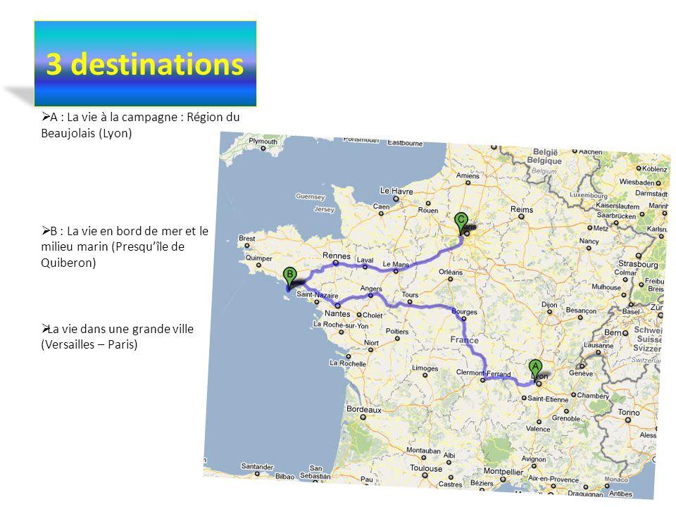 3 destinations A : La vie à la campagne : Région du Beaujolais (Lyon) B : La vie en bord de mer et le milieu marin (Presquîle de Quiberon) La vie dans