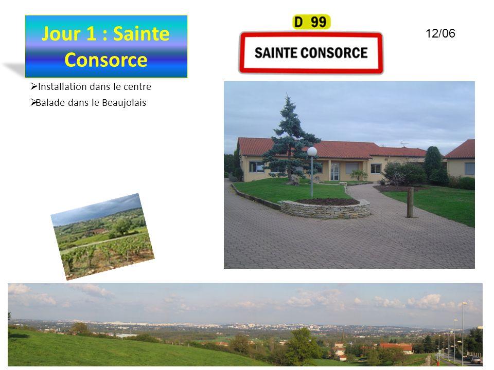 Jour 1 : Sainte Consorce Installation dans le centre Balade dans le Beaujolais 12/06