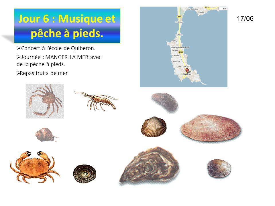 Jour 6 : Musique et pêche à pieds. Concert à lécole de Quiberon. Journée : MANGER LA MER avec de la pêche à pieds. Repas fruits de mer 17/06