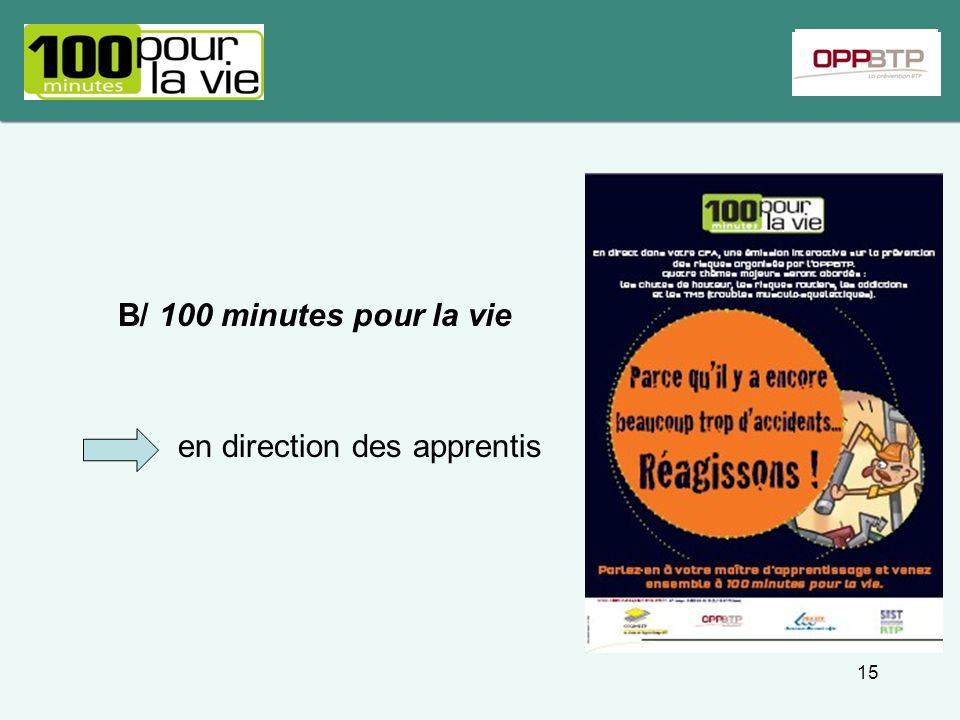 B/ 100 minutes pour la vie en direction des apprentis 15