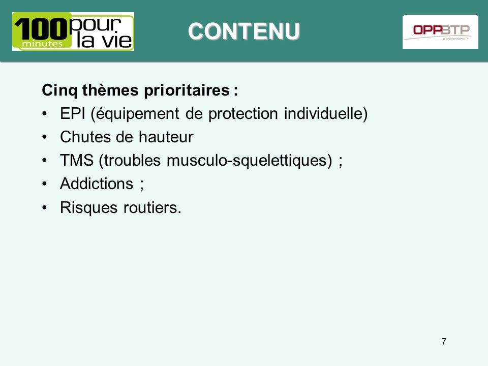 Cinq thèmes prioritaires : EPI (équipement de protection individuelle) Chutes de hauteur TMS (troubles musculo-squelettiques) ; Addictions ; Risques r