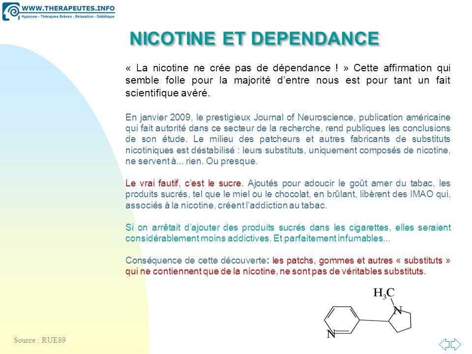 Passer à la première page NICOTINE ET DEPENDANCE « La nicotine ne crée pas de dépendance .