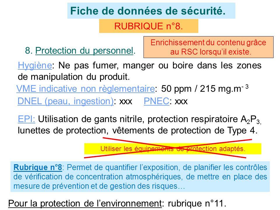 RUBRIQUE n°8. Fiche de données de sécurité. 8. Protection du personnel. Hygiène: Ne pas fumer, manger ou boire dans les zones de manipulation du produ