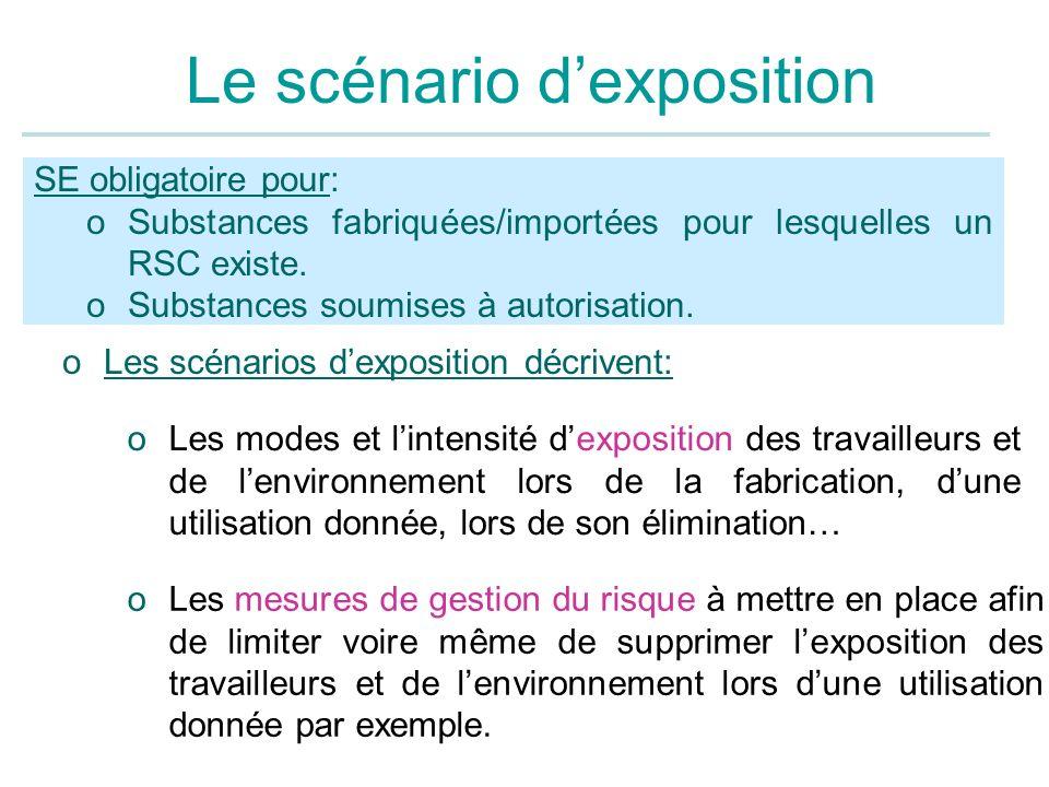 Le scénario dexposition SE obligatoire pour: oSubstances fabriquées/importées pour lesquelles un RSC existe. oSubstances soumises à autorisation. oLes