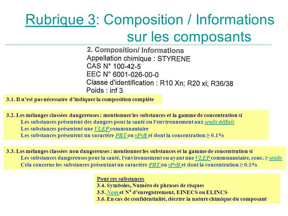 Rubrique 3: Composition / Informations sur les composants 3.1. Il nest pas nécessaire dindiquer la composition complète 3.2. Les mélanges classées dan