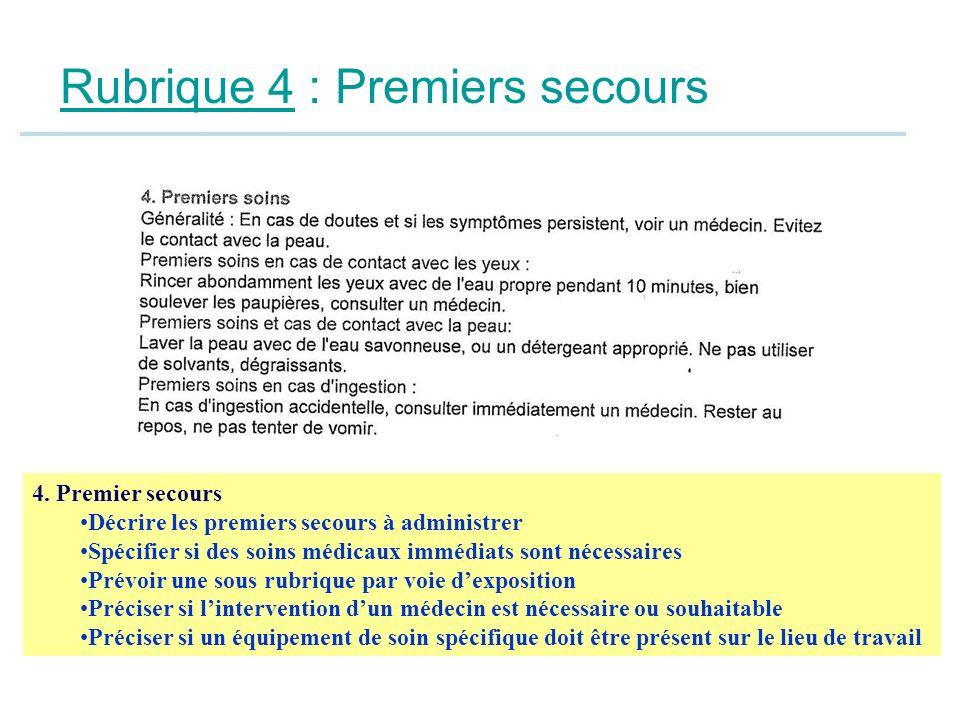 Rubrique 4 : Premiers secours 4. Premier secours Décrire les premiers secours à administrer Spécifier si des soins médicaux immédiats sont nécessaires