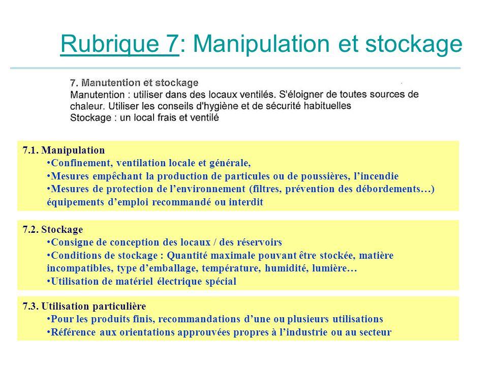 Rubrique 7: Manipulation et stockage 7.1. Manipulation Confinement, ventilation locale et générale, Mesures empêchant la production de particules ou d