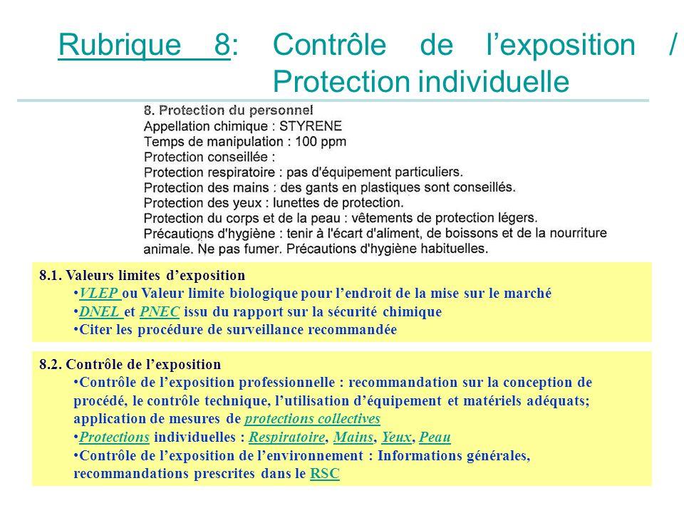Rubrique 8: Contrôle de lexposition / Protection individuelle 8.1. Valeurs limites dexposition VLEP ou Valeur limite biologique pour lendroit de la mi