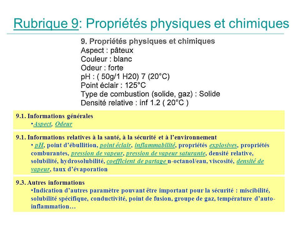 Rubrique 9: Propriétés physiques et chimiques 9.1. Informations générales Aspect, OdeurAspectOdeur 9.1. Informations relatives à la santé, à la sécuri