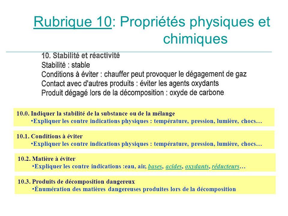 Rubrique 10: Propriétés physiques et chimiques 10.1. Conditions à éviter Expliquer les contre indications physiques : température, pression, lumière,