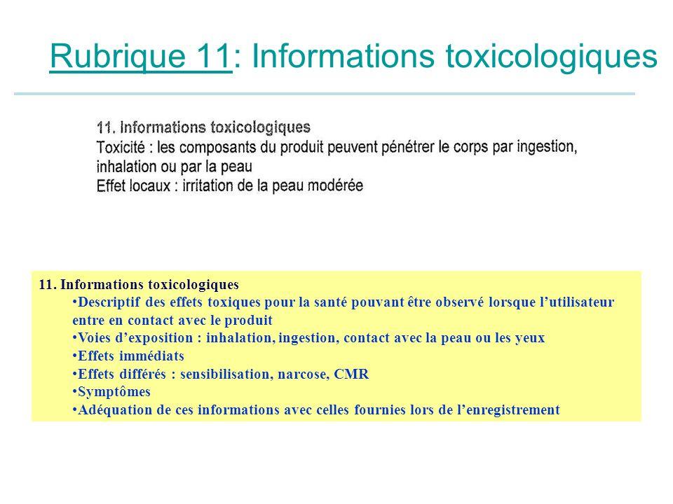 Rubrique 11: Informations toxicologiques 11. Informations toxicologiques Descriptif des effets toxiques pour la santé pouvant être observé lorsque lut