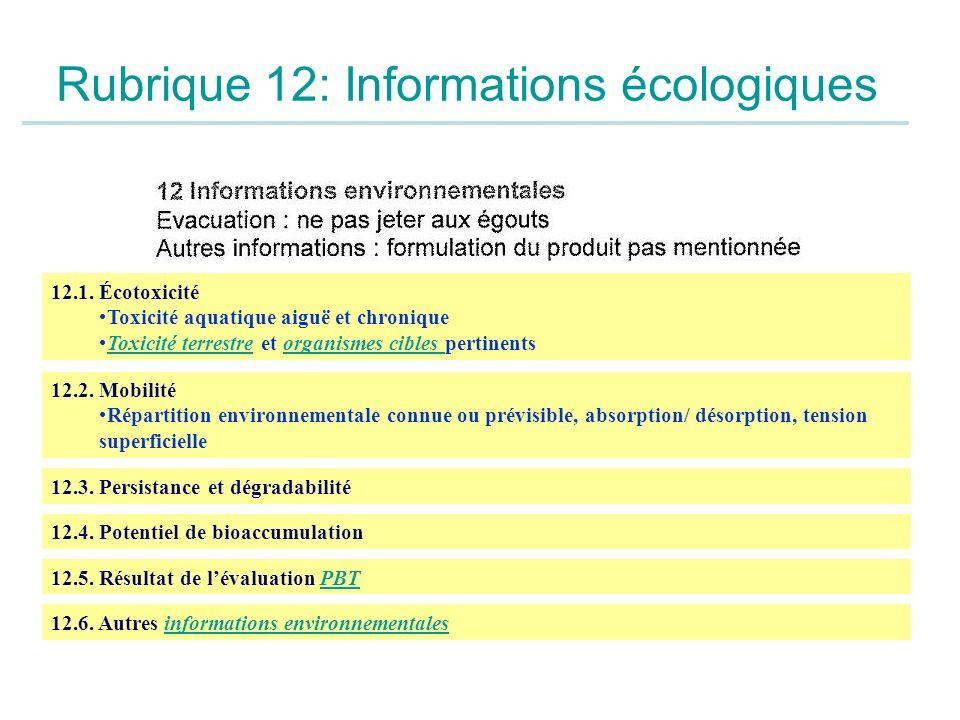 Rubrique 12: Informations écologiques 12.1. Écotoxicité Toxicité aquatique aiguë et chronique Toxicité terrestre et organismes cibles pertinentsToxici