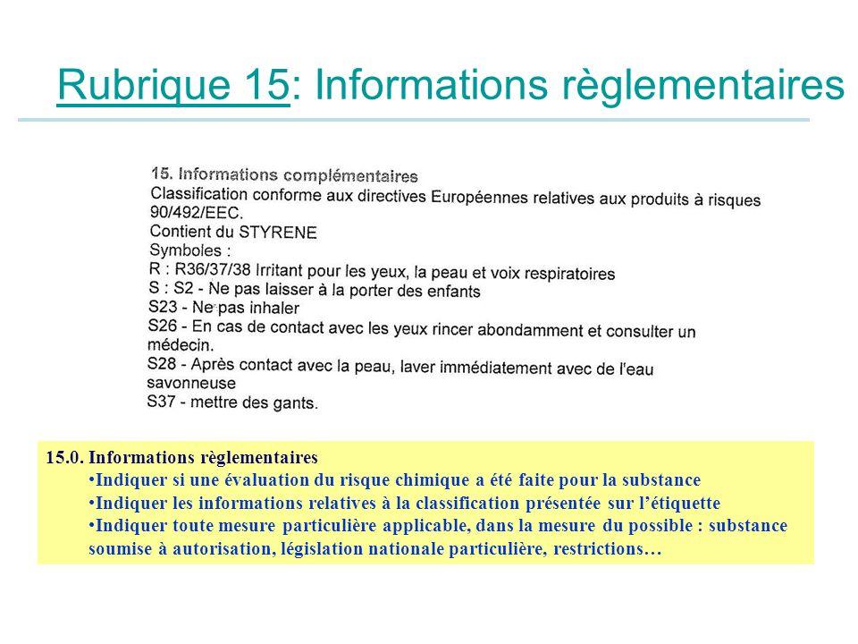 Rubrique 15: Informations règlementaires 15.0. Informations règlementaires Indiquer si une évaluation du risque chimique a été faite pour la substance