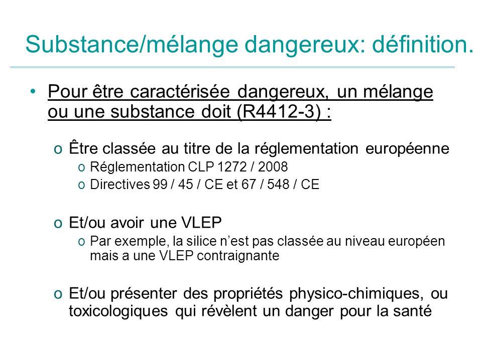 Substance/mélange dangereux: définition. Pour être caractérisée dangereux, un mélange ou une substance doit (R4412-3) : oÊtre classée au titre de la r