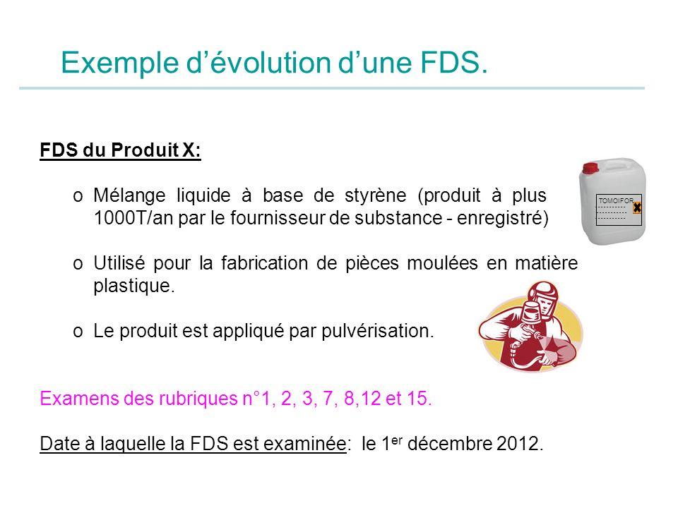 Exemple dévolution dune FDS. FDS du Produit X: oMélange liquide à base de styrène (produit à plus de 1000T/an par le fournisseur de substance - enregi