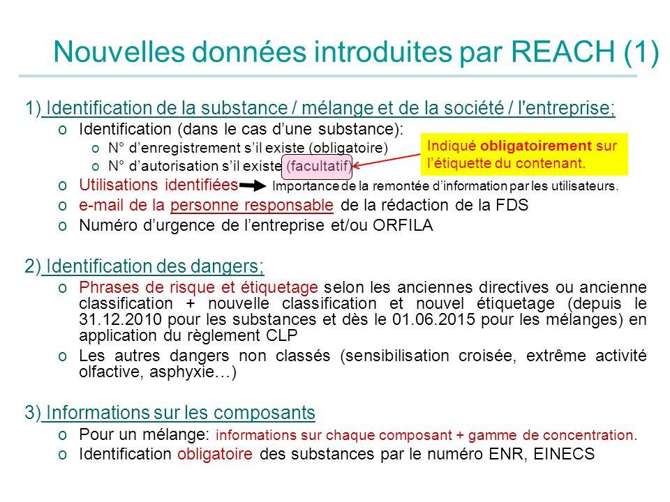 Nouvelles données introduites par REACH (1) 1) Identification de la substance / mélange et de la société / l'entreprise; oIdentification (dans le cas