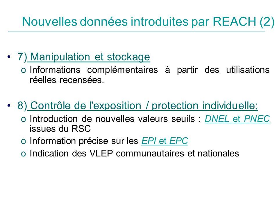 7) Manipulation et stockage oInformations complémentaires à partir des utilisations réelles recensées. 8) Contrôle de l'exposition / protection indivi