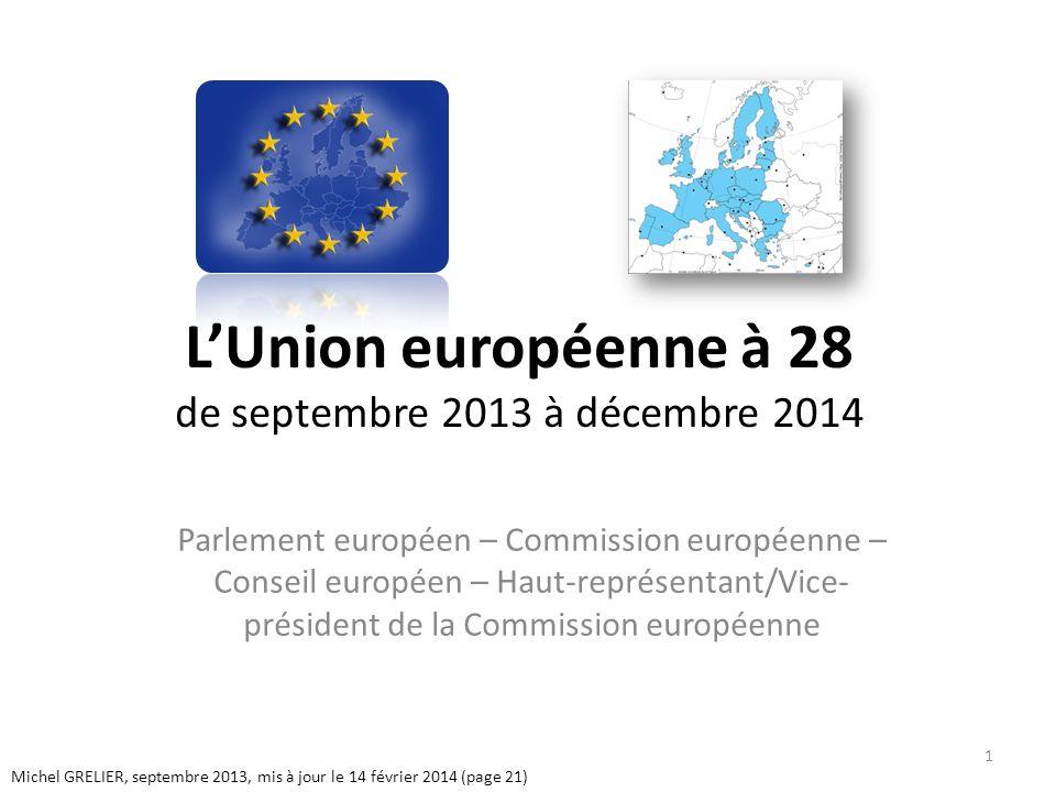 LUnion européenne à 28 de septembre 2013 à décembre 2014 Parlement européen – Commission européenne – Conseil européen – Haut-représentant/Vice- président de la Commission européenne Michel GRELIER, septembre 2013, mis à jour le 14 février 2014 (page 21) 1