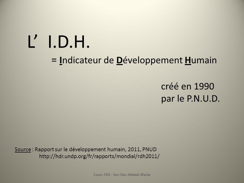 L I.D.H. = Indicateur de Développement Humain créé en 1990 par le P.N.U.D. Source : Rapport sur le développement humain, 2011, PNUD http://hdr.undp.or