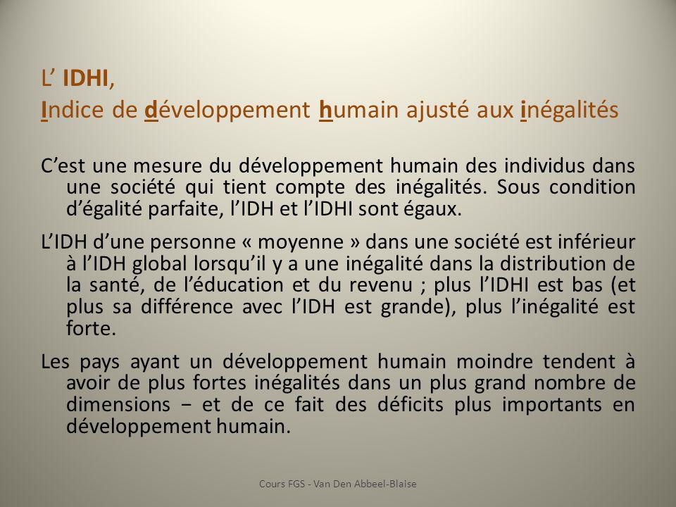 L IDHI, Indice de développement humain ajusté aux inégalités Cest une mesure du développement humain des individus dans une société qui tient compte des inégalités.