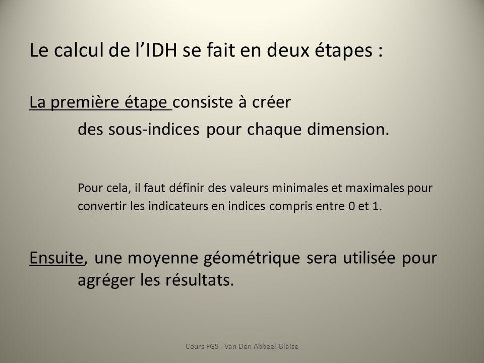 Le calcul de lIDH se fait en deux étapes : La première étape consiste à créer des sous-indices pour chaque dimension. Pour cela, il faut définir des v