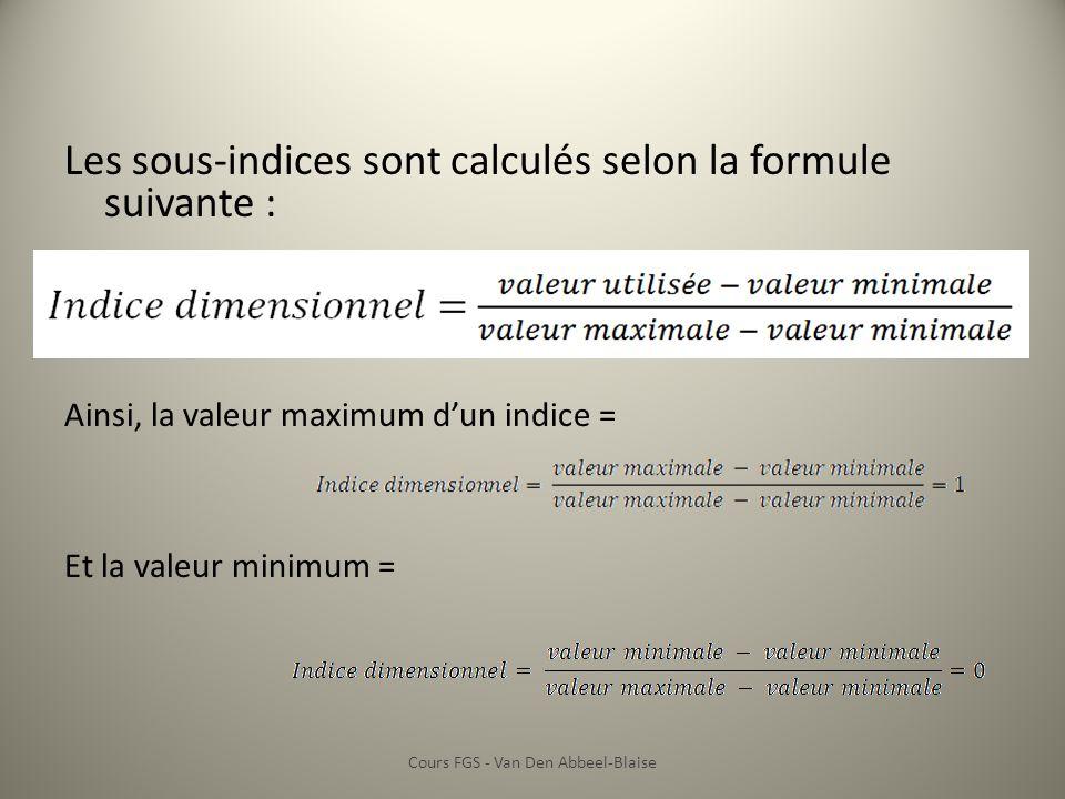 Les sous-indices sont calculés selon la formule suivante : Ainsi, la valeur maximum dun indice = Et la valeur minimum = Cours FGS - Van Den Abbeel-Bla