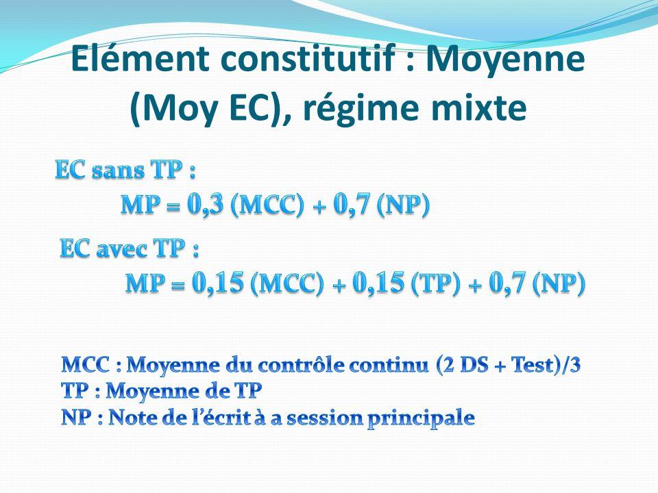 Elément constitutif : Moyenne (Moy EC), régime mixte