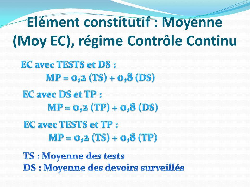 Elément constitutif : Moyenne (Moy EC), régime Contrôle Continu