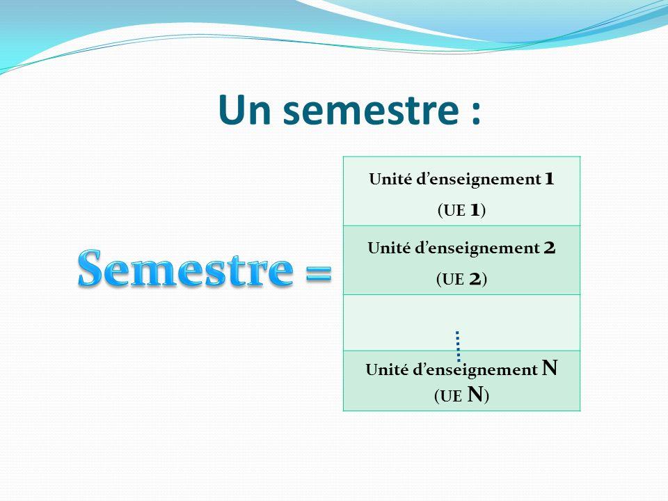 Un semestre : Unité denseignement 1 (UE 1 ) Unité denseignement 2 (UE 2 ) Unité denseignement N (UE N )