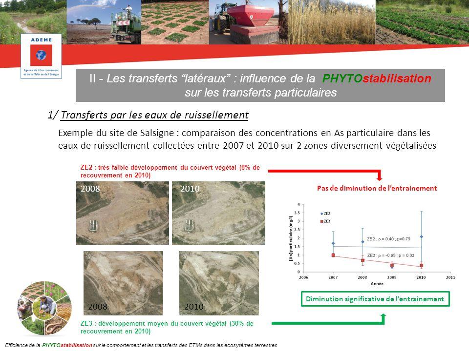 II - Les transferts latéraux : influence de la PHYTOstabilisation sur les transferts particulaires 2/ Transferts par érosion éolienne Recouvrement végétal (%) Vitesse du vent (m/s) à 125 mm du sol Masse de poussières (g) collectée en 20 mn Flux dAs (mg/h) 104.96.113.2 802.40.50.9 Exemple du site de Salsigne : comparaison de lenvol de poussières et du flux dAs sur 2 zones diversement végétalisées La présence dun couvert végétal homogène réduit la vitesse du vent au sol dun facteur 2 et lenvol de poussières et les flux dAs dun facteur 12.