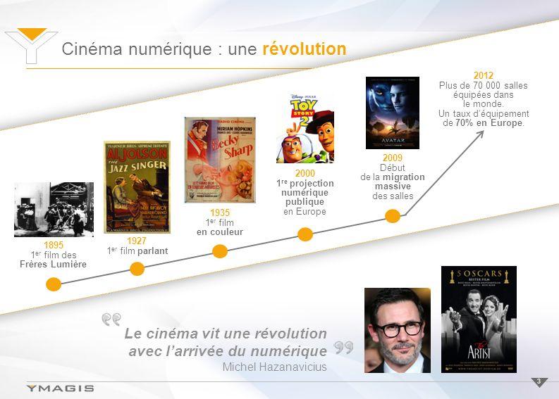 Cinéma numérique : une révolution 3 1895 1 er film des Frères Lumière 1927 1 er film parlant 1935 1 er film en couleur 2009 Début de la migration massive des salles 2012 Plus de 70 000 salles équipées dans le monde.
